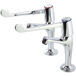 """Acorn Thorn High Neck Basin Taps With 6"""" Lever Handles (Chrome)."""