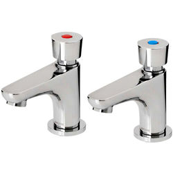 Acorn Thorn Soft Touch Self Closing Basin Tap (Pair, Chrome).