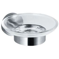 Acorn Thorn Glass Soap Dish & Wall Mount (Stainless Steel).