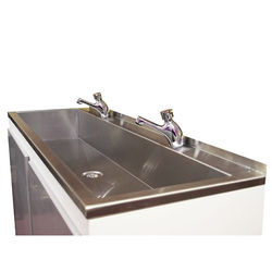 Acorn Thorn Sit On Wash Trough With Tap Ledge 2100mm (Stainless Steel).