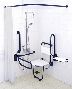 Arley Doc M Shower Pack With Blue Grab Rails.