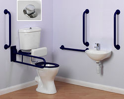 Arley Doc M Doc M Low Level Toilet Pack With Push Button Flush & Blue Rails.