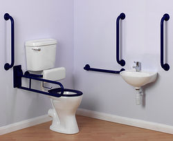 Arley Doc M Doc M Low Level Toilet Pack With Lever Flush & Blue Rails.