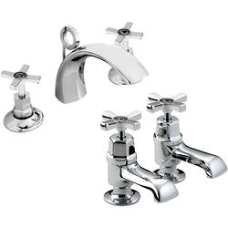 Bristan Art Deco 3 Hole Basin & Bath Taps Pack With Ceramic Disc Valves.