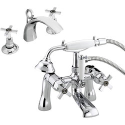 Bristan Art Deco 3 Hole Basin & BSM Taps Pack With Ceramic Disc Valves.