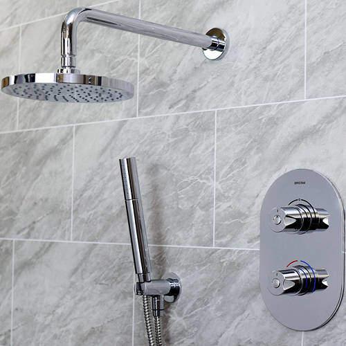Bristan Artisan Shower Pack With Arm, Round Head & Handset (Chrome).