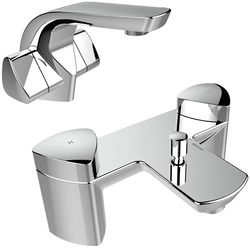Bristan Bright Basin & Bath Shower Mixer Taps Pack (Chrome).