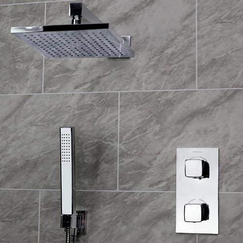 Bristan Cobalt Shower Pack With Arm, Square Head & Handset (Chrome).