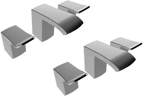 Bristan Descent 3 Hole Basin & Bath Filler Tap Pack (Chrome).