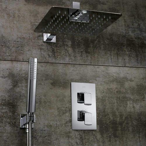 Bristan Descent Shower Pack With Arm, Square Head & Handset (Chrome).