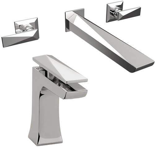 Bristan Ebony Mono Basin & Wall Mounted Bath Filler Tap Pack (Chrome).