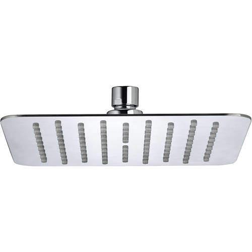 Bristan Accessories Square Fixed Shower Head (200x200mm, S Steel).