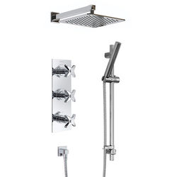 Bristan Glorious Shower Pack With Arm, Square Head & Slide Rail (Chrome).