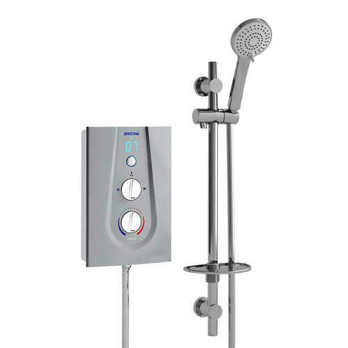 Bristan Joy Thermostatic Electric Shower With Digital Display 8.5kW (Silver).
