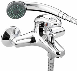 Bristan Java Wall Mounted Bath Shower Mixer Tap & Shower Kit (Chrome).