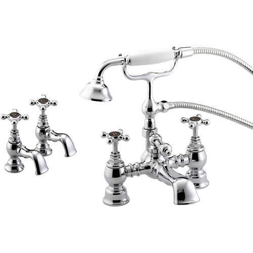 Bristan Trinity Basin & Bath Shower Mixer Taps Pack (Chrome).