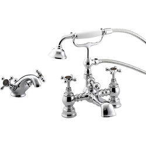 Bristan Trinity Mono Basin & Bath Shower Mixer Taps Pack (Chrome).