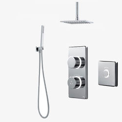 Digital Showers Twin Digital Shower Pack, Square Head, Remote & Kit (HP).