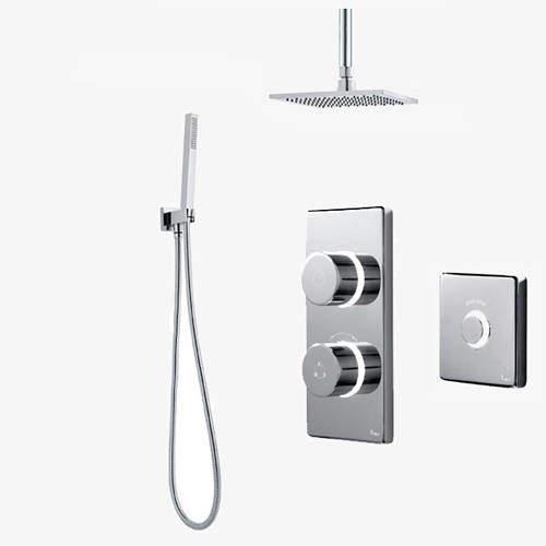 Digital Showers Twin Digital Shower Pack, Square Head, Remote & Kit (HP).