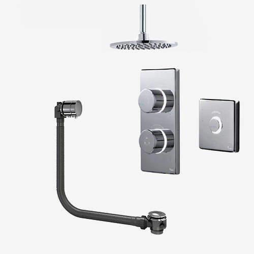 Digital Showers Digital Shower Pack, Bath Filler, Remote & Round Head (HP).