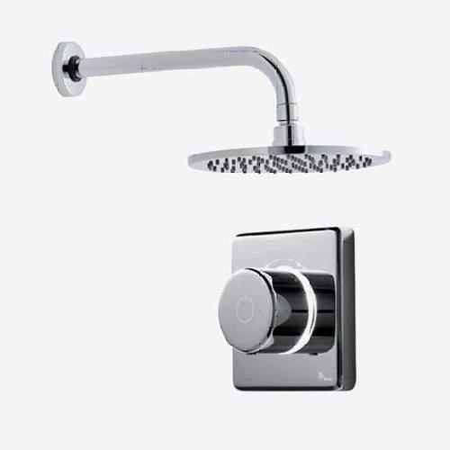 "Digital Showers Digital Shower Valve, Wall Arm & 8"" Shower Head (LP)."