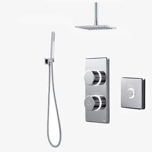 Digital Showers Twin Digital Shower Pack, Square Head, Remote & Kit (LP).