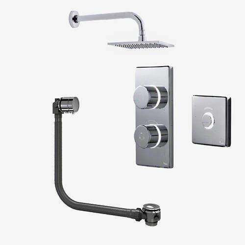 Digital Showers Digital Shower Pack, Bath Filler, Remote & Square Head (LP)