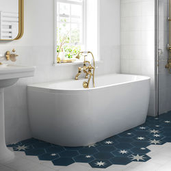 BC Designs Monreale Back To Wall Bath With Panel 1700x750mm (White).