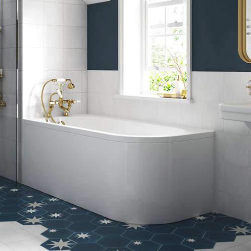 BC Designs Amerina Corner Bath With Panel 1700mm (LH, White).