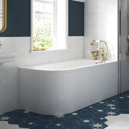 BC Designs Amerina Corner Bath With Panel 1700mm (RH, White).