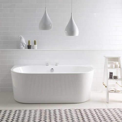 BC Designs Ancora Back To Wall Bath 1640mm (Gloss White).