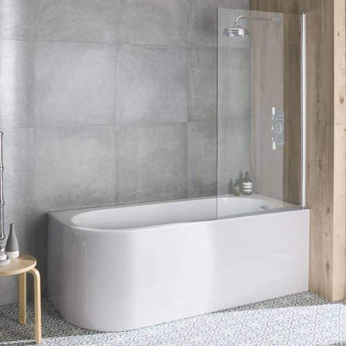BC Designs Ancorner Shower Bath 1700mm (Right Handed, Gloss White).