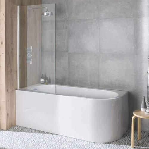 BC Designs Ancorner Shower Bath 1700mm (Left Handed, Gloss White).