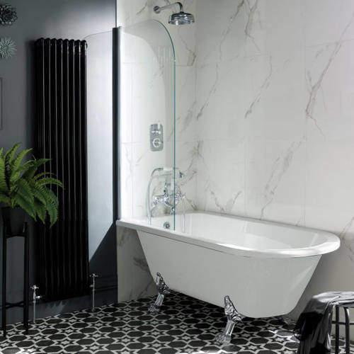 BC Designs Tye Shower Bath 1500mm With Feet Set 2 (White).