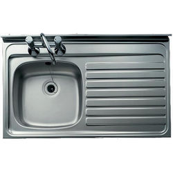 Clearwater Sinks Lay-On Kitchen Sink With Right Hand Drainer 1000x500mm.