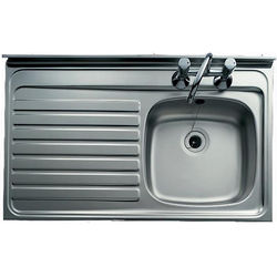 Clearwater Sinks Lay-On Kitchen Sink With Left Hand Drainer 1000x600mm.