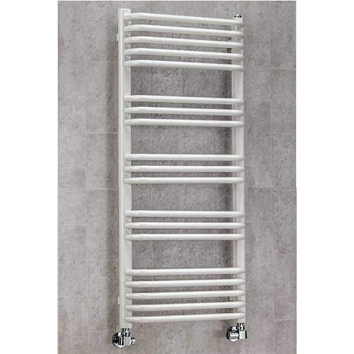 COLOUR Heated Towel Rail & Wall Brackets 1100x500 (White).