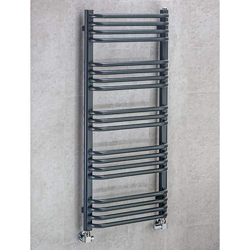 COLOUR Heated Towel Rail & Wall Brackets 1100x600 (Anthracite Grey).