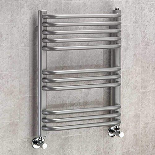 COLOUR Heated Towel Rail & Wall Brackets 620x600 (Grey Aluminium).