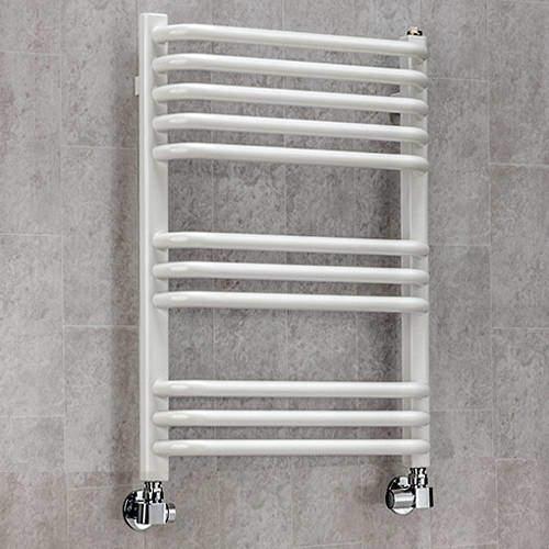 COLOUR Heated Towel Rail & Wall Brackets 620x600 (White).