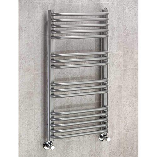 COLOUR Heated Towel Rail & Wall Brackets 900x500 (Grey Aluminium).