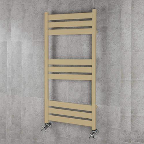 COLOUR Heated Towel Rail & Wall Brackets 1080x500 (Beige).
