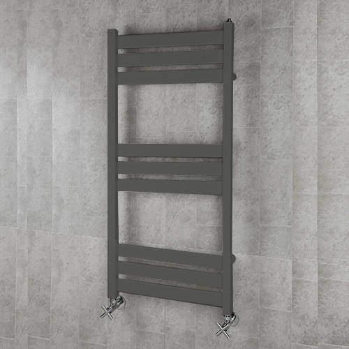 COLOUR Heated Towel Rail & Wall Brackets 1080x500 (Grey Olive).