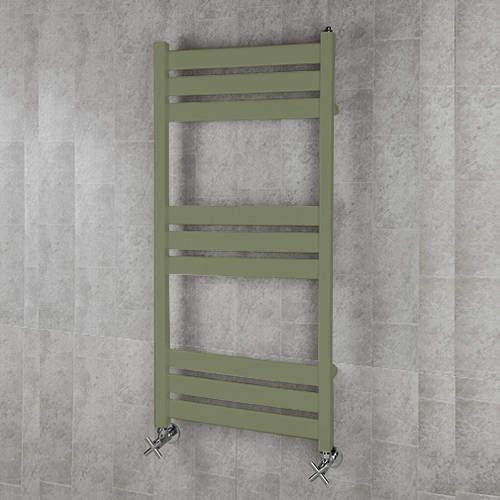 COLOUR Heated Towel Rail & Wall Brackets 1080x500 (Reed Green).