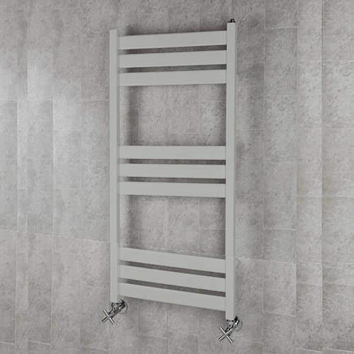 COLOUR Heated Towel Rail & Wall Brackets 1080x500 (Light Grey).