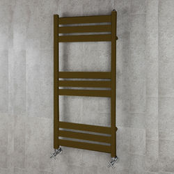 COLOUR Heated Towel Rail & Wall Brackets 1080x500 (Nut Brown).