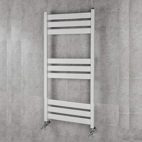 COLOUR Heated Towel Rail & Wall Brackets 1080x500 (White).