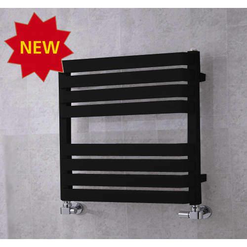 COLOUR Heated Towel Rail & Wall Brackets 655x500 (Jet Black).