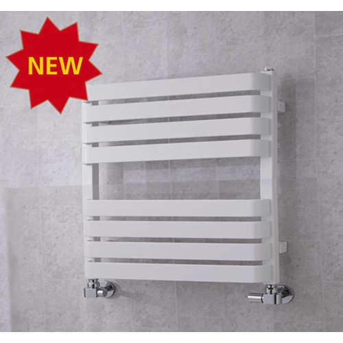 COLOUR Heated Towel Rail & Wall Brackets 655x500 (White).