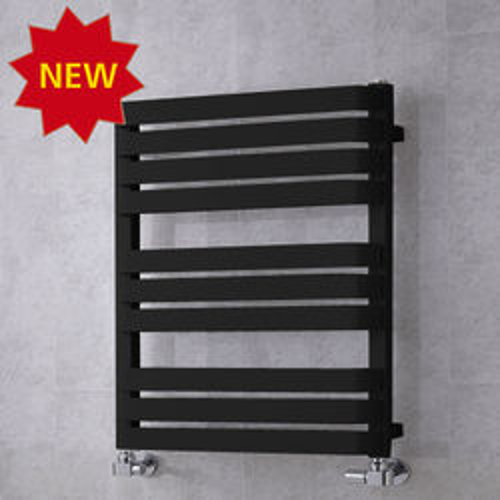 COLOUR Heated Towel Rail & Wall Brackets 785x500 (Jet Black).